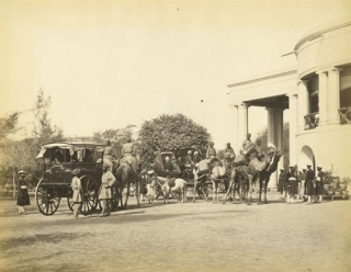 Sir Robert Montgomery's Camel Carriage in Government House, Lahore [pencil caption]. Samuel...