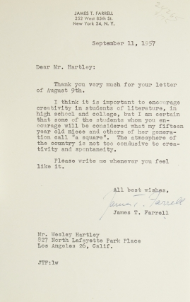 """Two typed letters, signed """"James T. Farrell"""""""