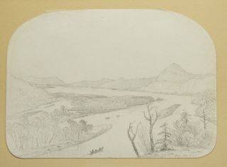 "Pencil drawing of ""View of the Restigouche River."""