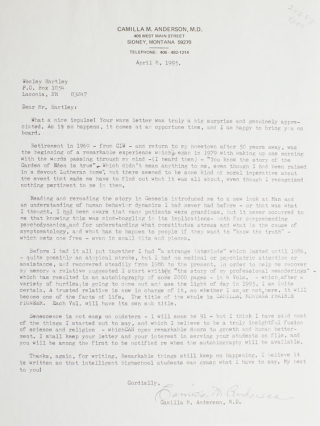 """Typed letter, signed """"Camilla M. Anderson"""""""