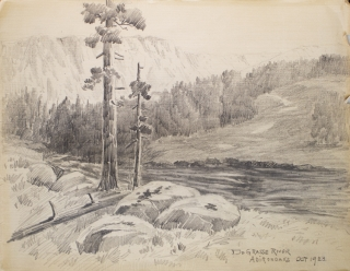 "Thirteen amateur pencil drawings on paper of Scenes of Mills in Adirondacks, Rochester ""Genessee..."
