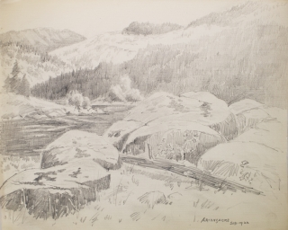 "Thirteen amateur pencil drawings on paper of Scenes of Mills in Adirondacks, Rochester ""Genessee Lower Falls, Rand Powder Mills, Monroe Co., NY. (6), De Grasse River, Adirondacks (4)"