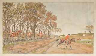 "American Hunting Scenes. Colorists' model for ""Well Away""]. Foxhunting, Edward King"