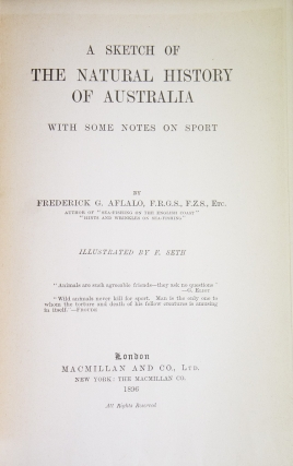 A Sketch of the Natural History of Australia, With Some Notes on Sport