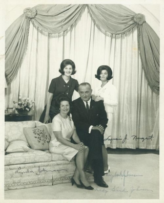 Family Portrait, signed by each family member. Lyndon Baines Johnson.