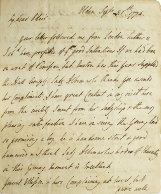"Autograph Letter, signed (""A. Kepppel""), to his brother-in-law in London, Robert Adair (""My Dear..."