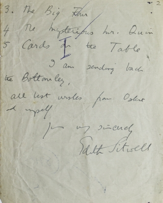 "Autograph Letter, signed (""Edith Sitwell"") to ""Mr. Wilson"", requesting copies of 5 Agatha..."