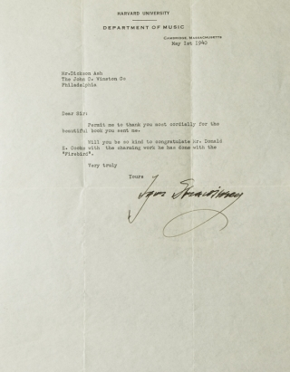 "Typed Letter, Signed (""Igor Strawinsky""), dated 1 May, 1940, on Harvard letterhead, to Dickson..."