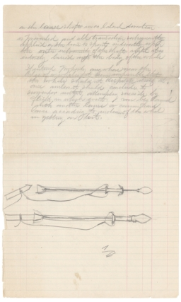 Group of 8 whaling manuscripts, including drawing of original lance design. Whaling, Augustus...