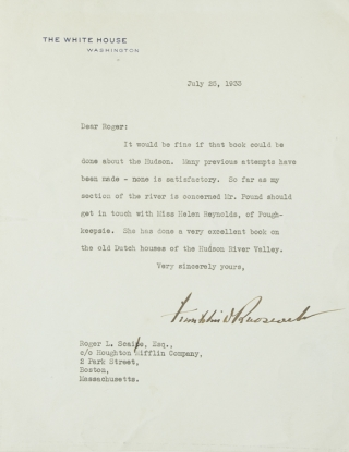 "Typed Letter, signed (""Franklin D. Roosevelt""), as President, to Roger Scaife of Houghton..."