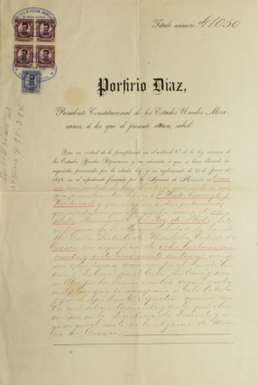 "Partly printed Document, signed (""Porfirio Diaz"" with a flourish), Patent for ""Ely Rey de Plata"" gold and silver mine in Oaxaca granted to Frank Waterhouse and E.J. Winterowd. Porfirio Diaz."