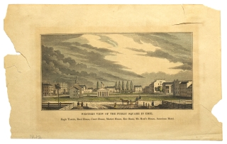 """A wood engraving of the """"Public Square in Chambersburg, As een on entering from the north. Washington Hote, German Reformed Church, Bank, Culbertson's Hotel"""""""