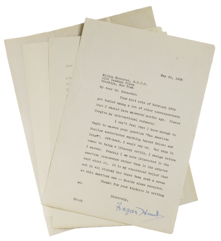 Collection of 8 letters from literary figures to Dr. Milton Kronovet, V. S. D. C. American Authors.