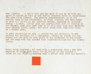 "Typed Letter, signed (""F. LL. W. Frank!"") to Lewis Mumford"