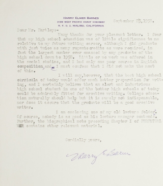 "Typed letter, signed ""Harry E. Barnes"". Harry Elmer Barnes."