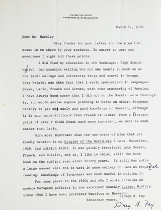 "Typed letter, signed ""Sidney B. Fay"""