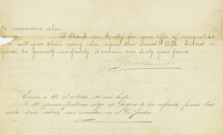 Letter, signed. To Julius L. Brown of Atlanta, Georgia, regarding new information contradicting the received version of the capture of Querétaro, the execution of the Emperor Maximilian, and the fall of the Mexican Empire. Mexican History, J. Montismo.