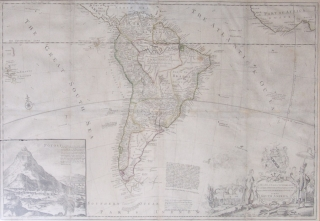Map of South America, with an inset depiction and description of Mt. Potosi, in Peru, and a figural and armorial cartouche containing the dedication to Lord Sunderland