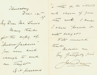 Autograph Letter, Signed, to author and journalist Alfred Henry Lewis, acknowledging receipt of a...