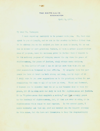 Typed Letter, signature excised, to Andrew Carnegie as President of The National Arbitration and Peace Congress