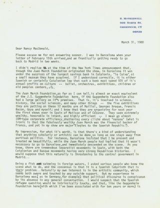 "Typed Letter, signed (""Robert Motherwell""), to Nancy McDonald of Spanish Refugee Aid Inc. of NY"