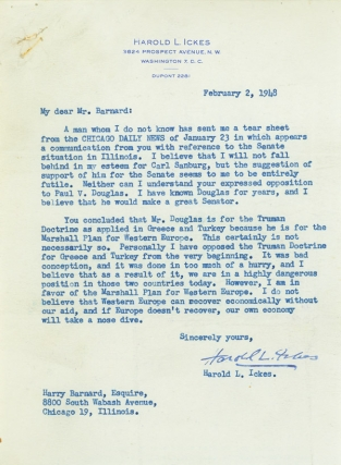 "Typed Letter, signed (""Harold L. Ickes"") to Harry Barnard of Chicago, objecting to..."