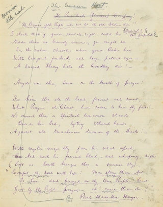 "Autograph Manuscript, signed (""Paul Hamilton Hayne""), of his Poem ""The Unseen Host"". James A. Garfield, Paul Hamilton Hayne."
