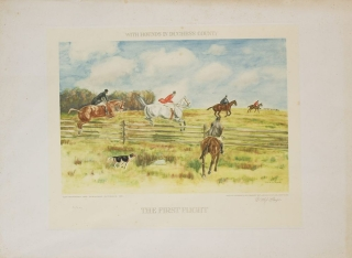 "Two hand-colored prints entitled ""The First Flight"" and ""Full Cry"" with a General Title of each ""With Hounds in Duchess County"""