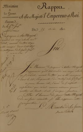 "Autograph endorsement signed (""Np"") granting the discharge of a soldier"