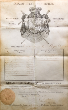 "Engraved Document signed (""Napoleone"") as King of the Two Sicilies, breveting an..."