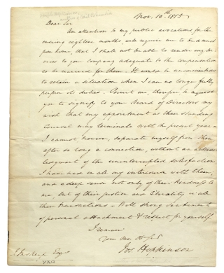 "Autograph Letter, signed (""Jos. Hopkinson""), to John Inskeep, ""President of the Insurace Company of N, America"", resigning his position with the company. Joseph Hopkinson."