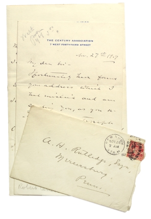 "Autograph Manuscript, signed, fair copy, of ""The Rosary."" With cover Autograph Letter,..."