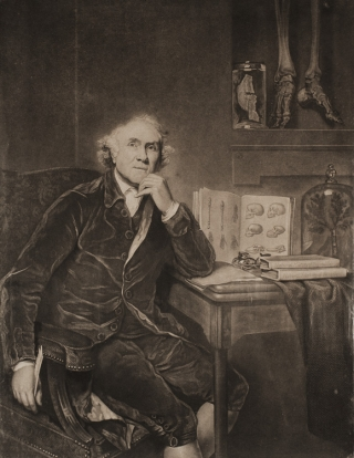 Mezzotint laid down on linen of Doctor John Hunter looking into space, with books on table...