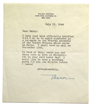 "Typed letter signed (""Eleanor""), to Harry, concerning her appointment as a delegate to the..."