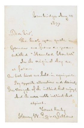 "Autograph Letter, signed (""Henry W. Longfellow""), containing a stanza from his ""Haunted..."