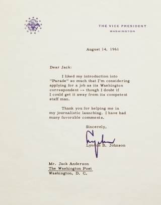 "Typed Letter, signed (""Lyndon""), to Jack Anderson of The Washington Post. Lyndon B. Johnson."