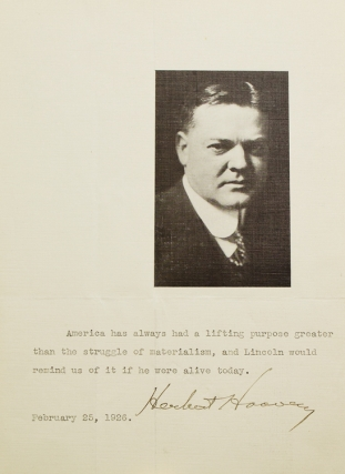 "Typed Sentiment, signed (""Herbert Hoover""). Herbert Hoover"
