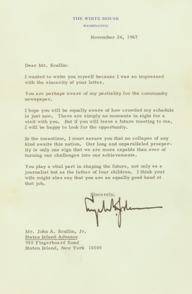 Typed Letter, signed (possibly by auto-pen), as President, to John Scullin, Jr., of the STATEN ISLAND ADVANCE. Lyndon Baines Johnson.