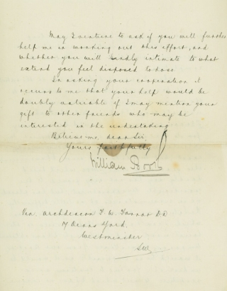 "Holograph Letter (in secretarial hand), signed (""William Booth"") by Booth, to Archdeacon F.W...."