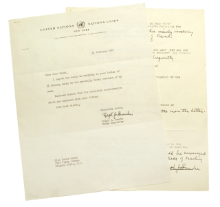 "Typed Letter, signed (""Ralph J. Bunche""), to Irene Rodak, with completed questionnaire and..."