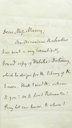"Autograph Note, signed (""George Bancroft""), to Miss Murray. George Bancroft."