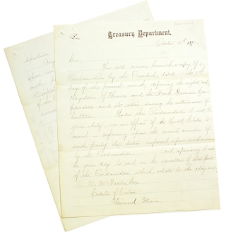 "Letter, signed (""George S. Boutwell"") as Secretary of the Treasury, to P.M. McFadden,..."