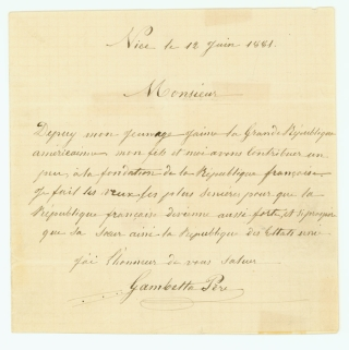 "Autograph Letter, signed (""Gambetta Père"") to an unknown correspondent..."