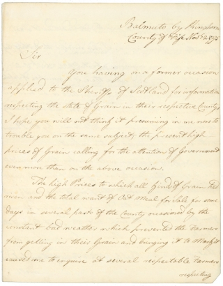 "Autograph Letter, signed (""Claud I. Boswell, Sheriff of Fife""), to First Viscount Melville Hanry Dundas. Claude Irvine Boswell, Lord Bamuto."