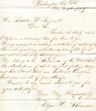 Autograph Letter, Signed. To Hon. Littleton W. Tazewell asking for autograph and sending him...