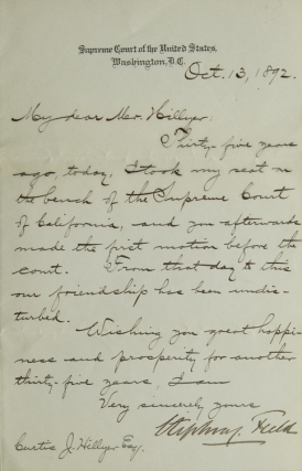 Letter, Signed and Telegram (not in his hand). Both addressed to Curtis J. Hillyer. Stephen...