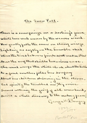 "Manuscript Poem, Signed. ""The Snow Fall."" 12 lines. George W. Bungay, ashington"