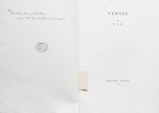 Verses. By R.L.S. Note by Luther S. Livingston