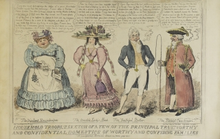 """Collection of Caricatures: With: """"A Scene at the London Museum, Piccadilly"""" (Cohn 1959, Second State, Published by Thomas M'Lean, August 1, 1835); Household Troops, or a Sketch of a Few, of the Principal Trustworthy and Confidential Domestics of Worthy and Confiding Families. By Robert Cruikshank Pub. Dec 1827 by T. M'Lean; Ancient Military Dandies of 1450-Modern Military Dandies of 1819."""" By George Cruikshank. April 1, 1835. Thos. M'Lean (Cohan 884) mounted; """"Stalemate"""", 1835 (reprint of Cohan 2002); """"Money Hunting"""", Designed by an Amateur (Captain Marryat) etched by G. Ck. M'Lean, 1835 (reprint of Cohan 1745); """"The Root of King's Evil"""" G. Cruik. fecit. Designed by an Amateur (Captain Marrayat), M'Lean Aug, 1, 1835. (Reprint of Cohan 1913); """"Game of Chess"""" M'Lean, August 1, 1835, Second State (Cohan 1148); & 2 others"""