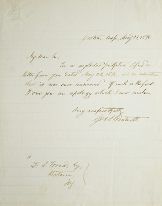 Autograph Letter, signed, An apology to Mr. F.S. Wood for not answering his letter. George Sewall Boutwell.